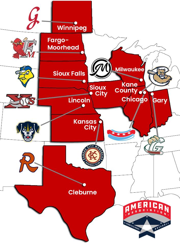 American Association 2021 League Map